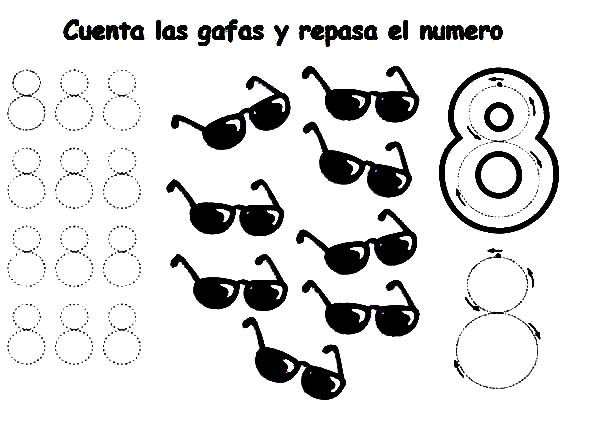 Number 8, : Learn Number 8 with Eight Sunglassess Coloring Page