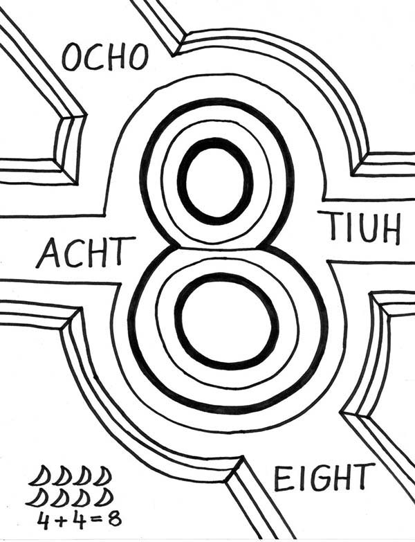 Number 8, : Learn Number 8 with Several Language Coloring Page