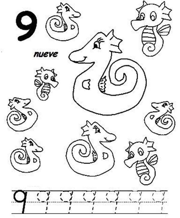 Number 9, : Learn Number 9 Coloring Page for Kids