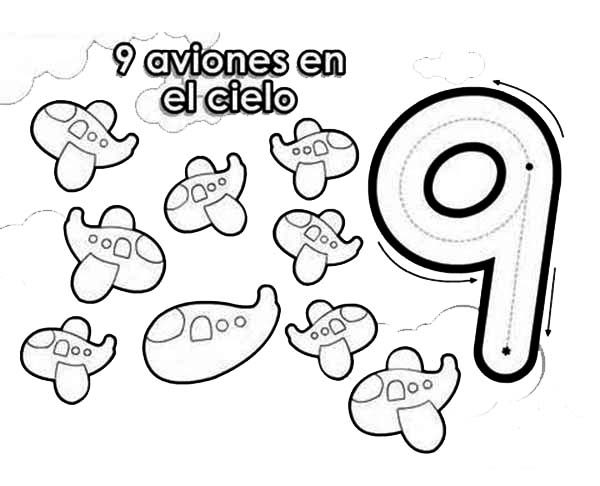 Number 9, : Learn Number 9 with Nine Airplanes Coloring Page