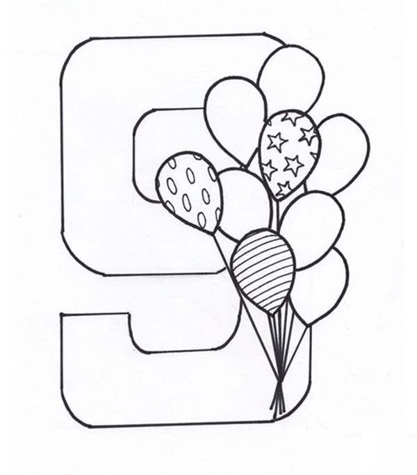 Number 9, : Learn Number 9 with Nine Balloons Coloring Page