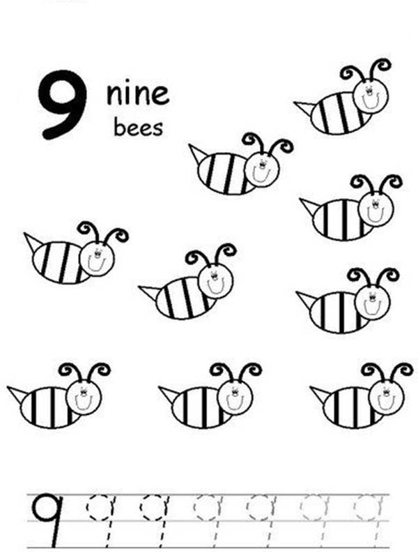 Number 9, : Learn Number 9 with Nine Bees Coloring Page