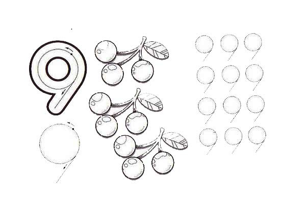 Number 9, : Learn Number 9 with Nine Berries Coloring Page