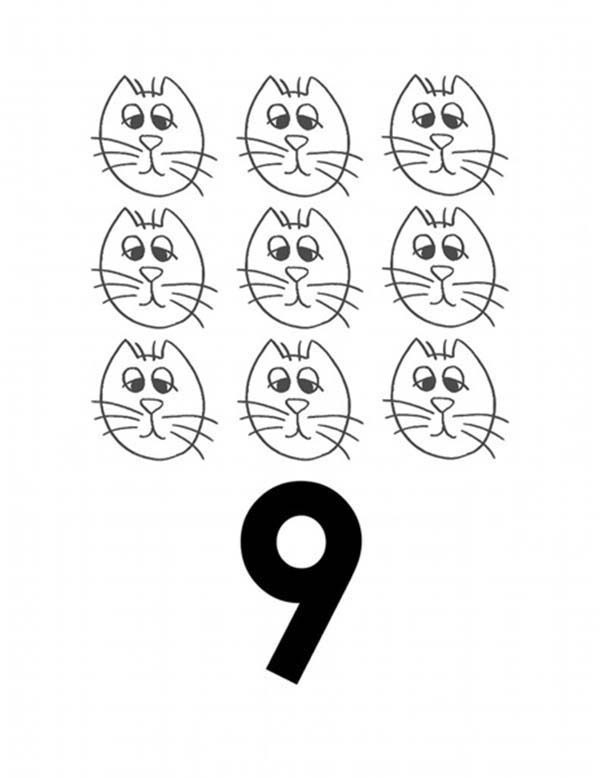 Number 9, : Learn Number 9 with Nine Cats Coloring Page