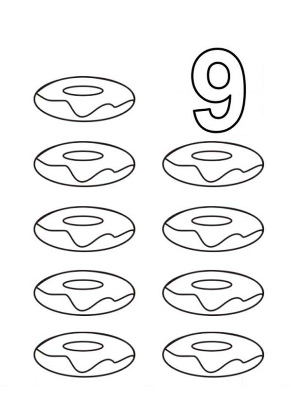 Number 9, : Learn Number 9 with Nine Donuts Coloring Page