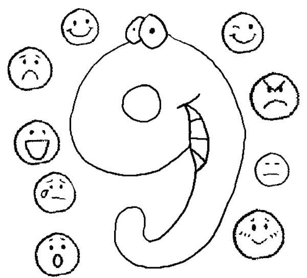 Number 9, : Learn Number 9 with Nine Emoticons Coloring Page