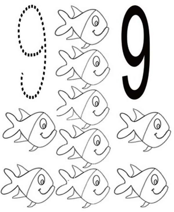 Number 9, : Learn Number 9 with Nine Fishes Coloring Page