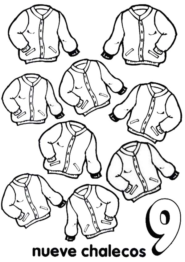 Number 9, : Learn Number 9 with Nine Jackets Coloring Page
