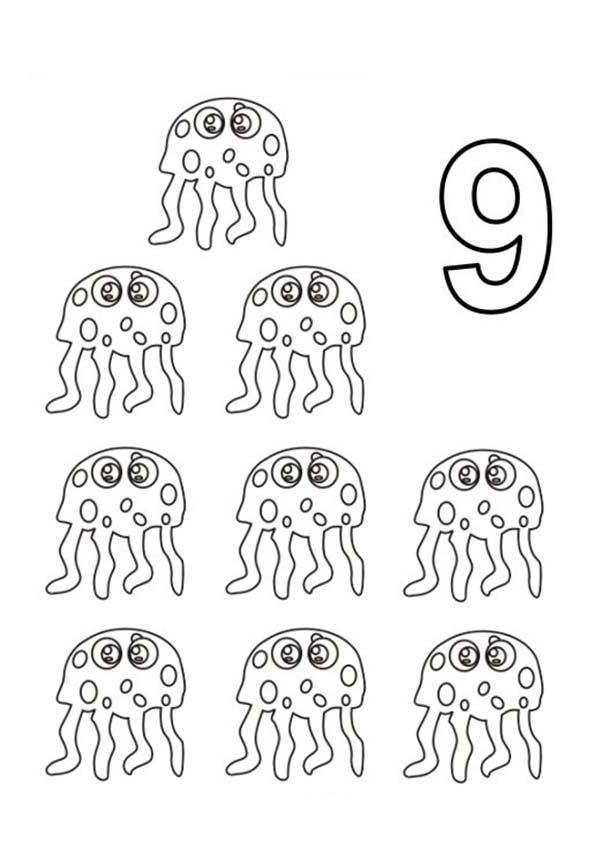 Number 9, : Learn Number 9 with Nine Jellyfish Coloring Page