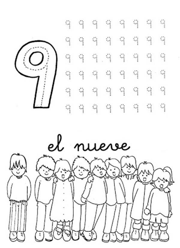 Number 9, : Learn Number 9 with Nine Kids Coloring Page