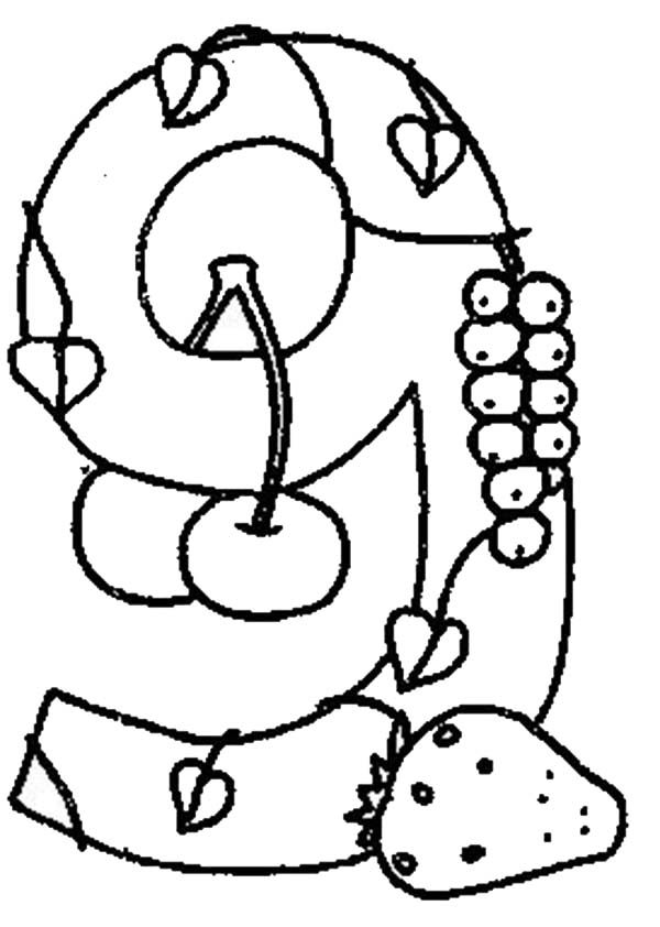 Number 9, : Learn Number 9 with Nine Kind of Fruits Coloring Page