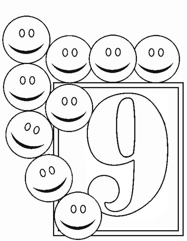 Number 9, : Learn Number 9 with Nine Smiley Faces Coloring Page