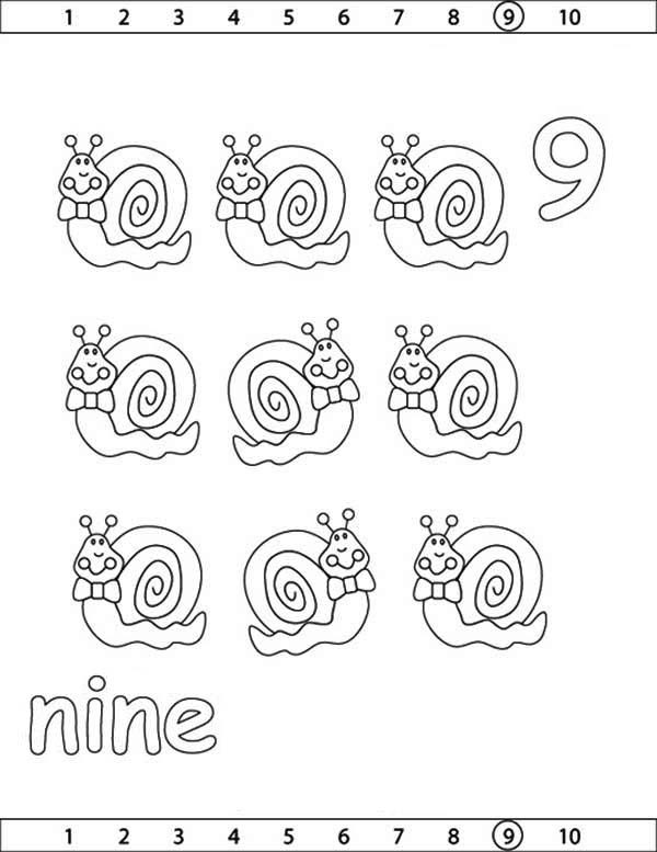Number 9, : Learn Number 9 with Nine Snails Coloring Page