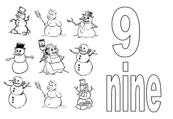 Number 9, : Learn Number 9 with Nine Snowman Coloring Page