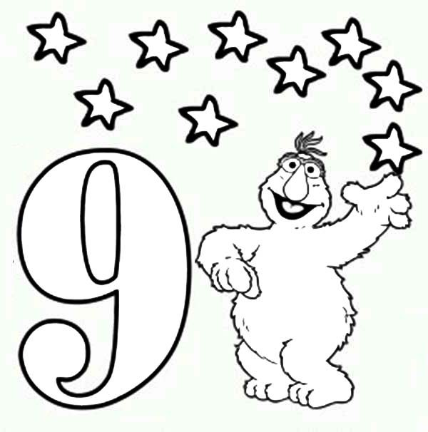 Number 9, : Learn Number 9 with Nine Stars in Sesame Street Coloring Page