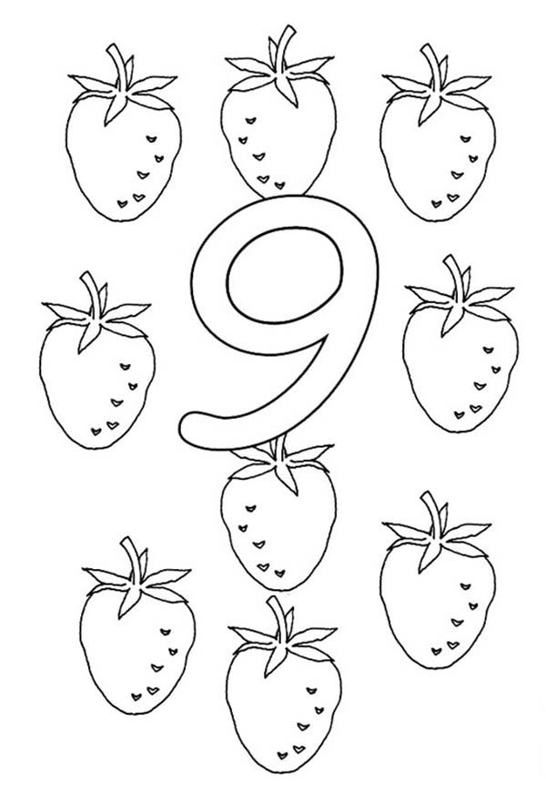 Number 9, : Learn Number 9 with Nine Strawberries Coloring Page