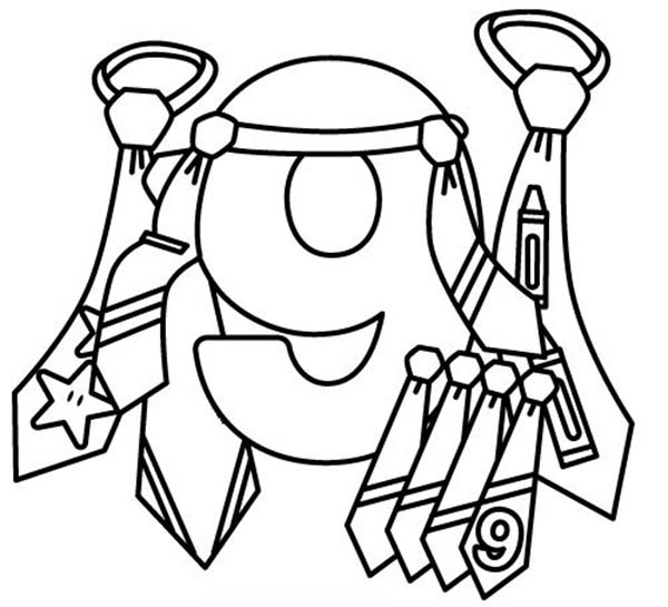 Number 9, : Learn Number 9 with Nine Ties Coloring Page