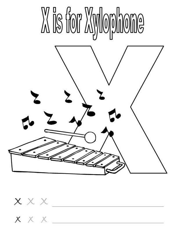 Letter X, : Learn Xylophone for Letter X Coloring Page