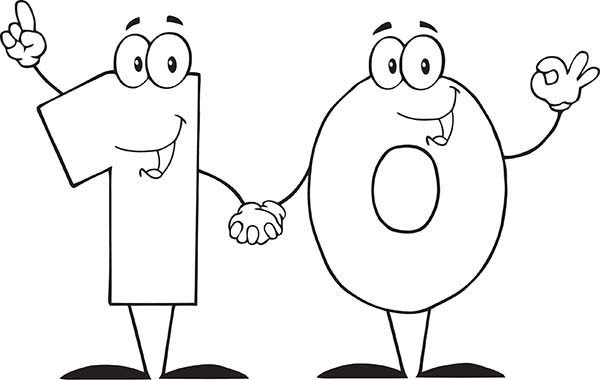 Number 10, : Learn to Count Number 10 Coloring Page