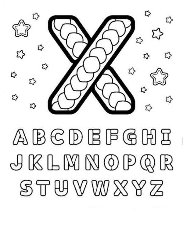 Letter X, : Learning Letter X Coloring Page