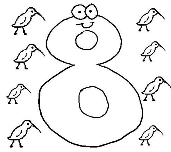 Number 8, : Learning Number 8 Coloring Page