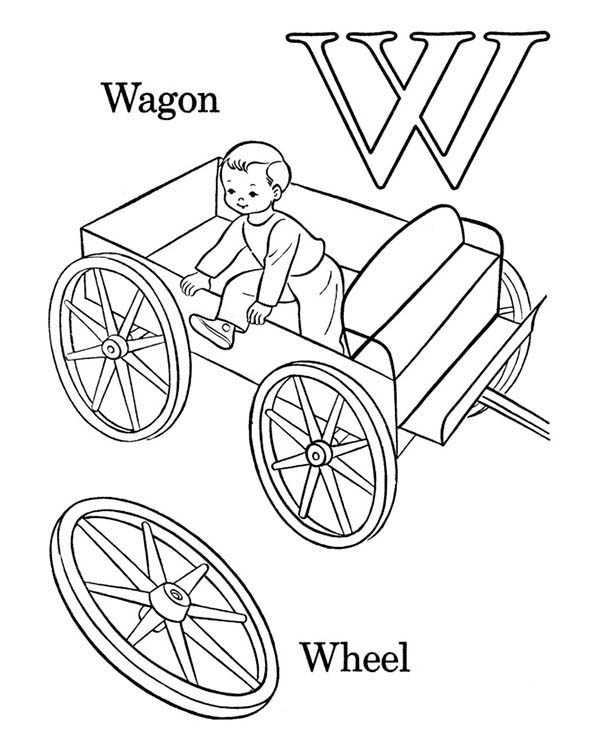 Letter W, : Learning Wagon for Letter W Coloring Page