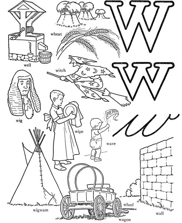 Letter W, : Learning Words from Letter W Coloring Page
