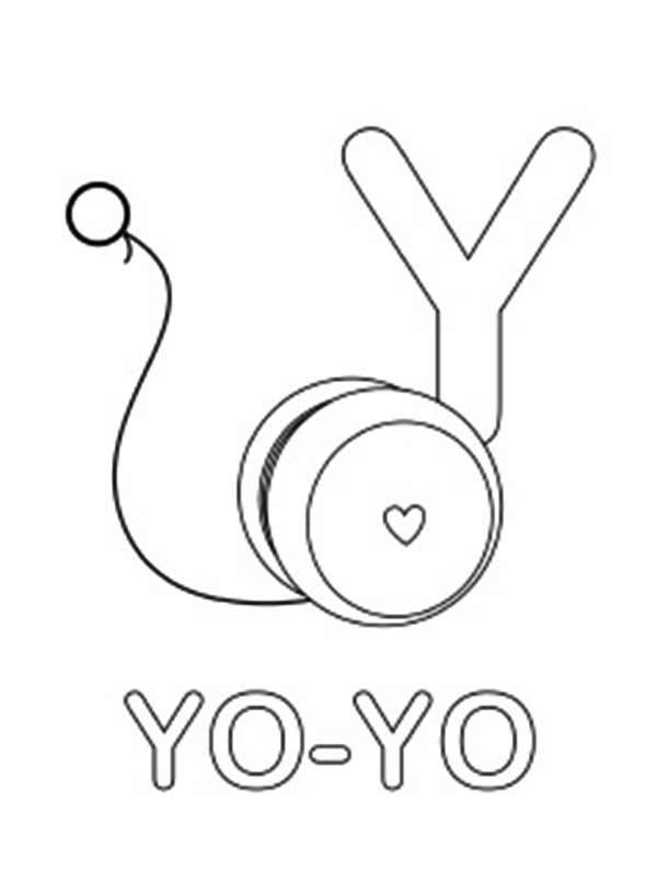 Letter Y, : Learning YoYo for Letter Y Coloring Page