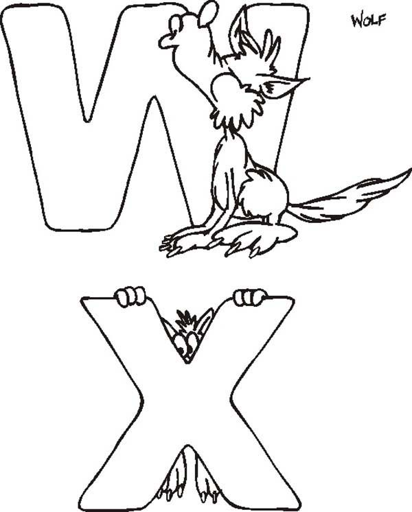 Letter W, : Letter W and Letter X Coloring Page
