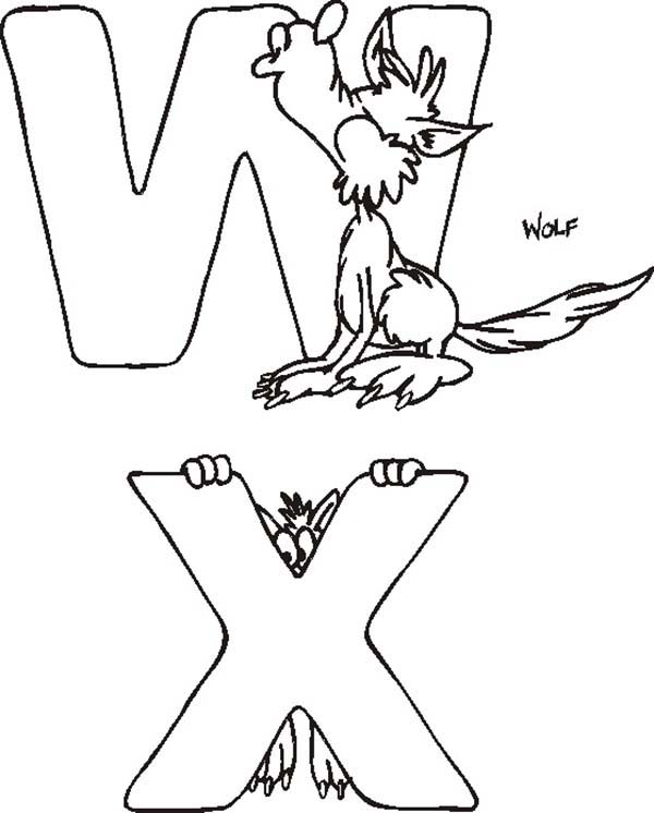 Letter X, : Letter W and Letter X Coloring Page