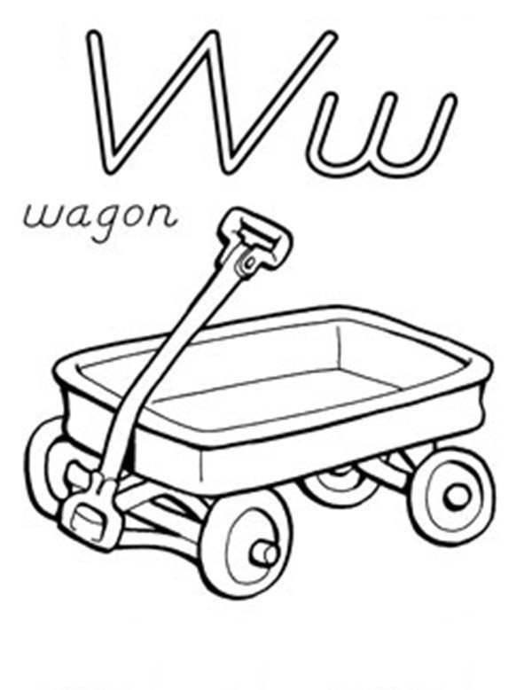 Letter W, : Letter W for Wagon Coloring Page