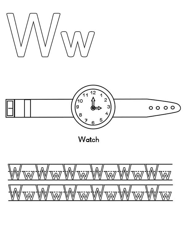 Letter W, : Letter W for Watch Coloring Page