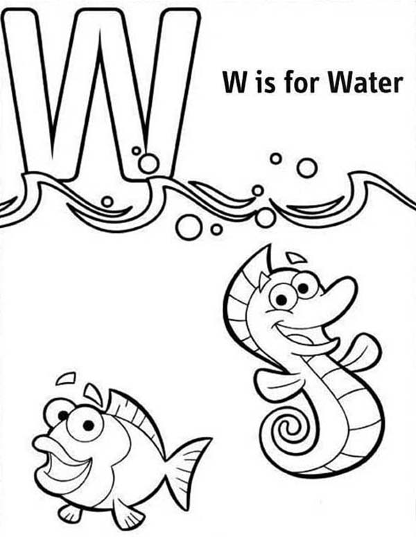 Letter W, : Letter W for Water Coloring Page