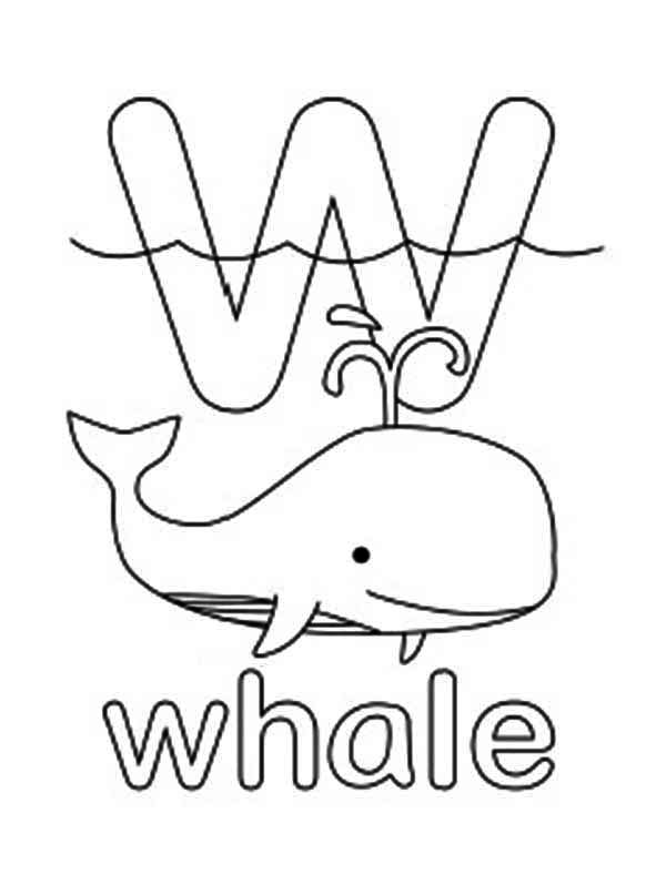 Letter W, : Letter W for Whale Coloring Page