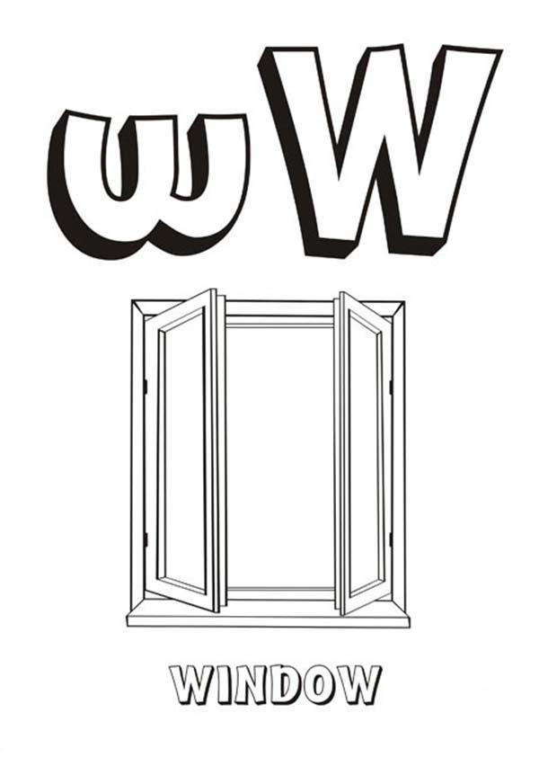 Letter W, : Letter W for Window Coloring Page