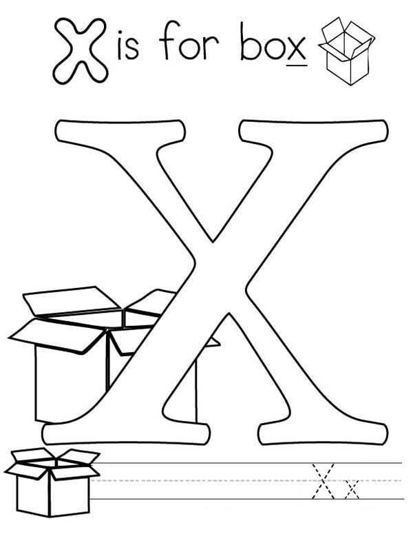 Letter X, : Letter X Coloring Page for Kids
