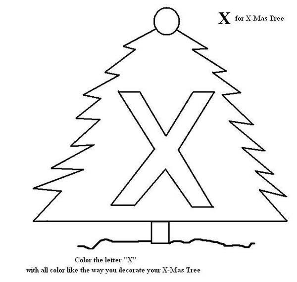 Letter X, : Letter X for X Mas Tree Coloring Page