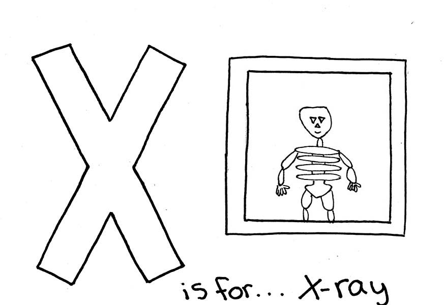 Letter X, : Letter X for X Ray Coloring Page