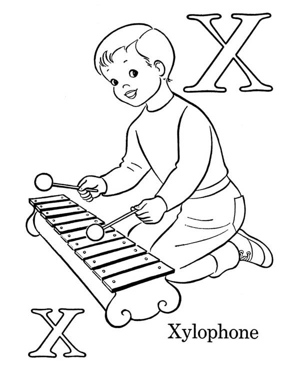 Letter X, : Letter X for Xylophone Coloring Page