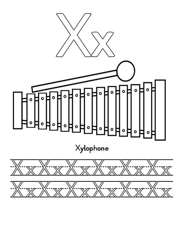 Letter X, : Letter X for Xylophone Worksheet Coloring Page