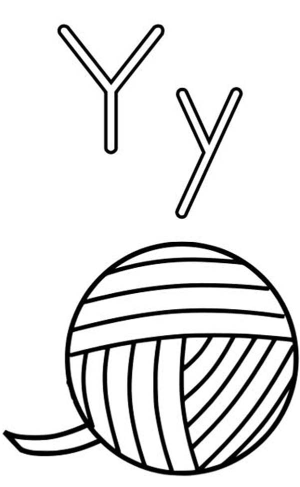 Letter Y, : Letter Y is for Yarn Coloring Page