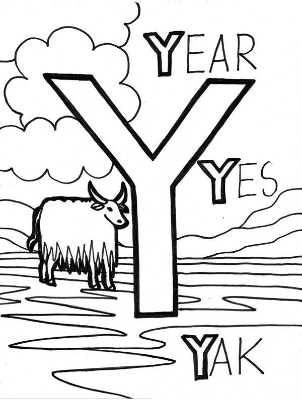 Letter Y, : Letter Y is for Year Coloring Page