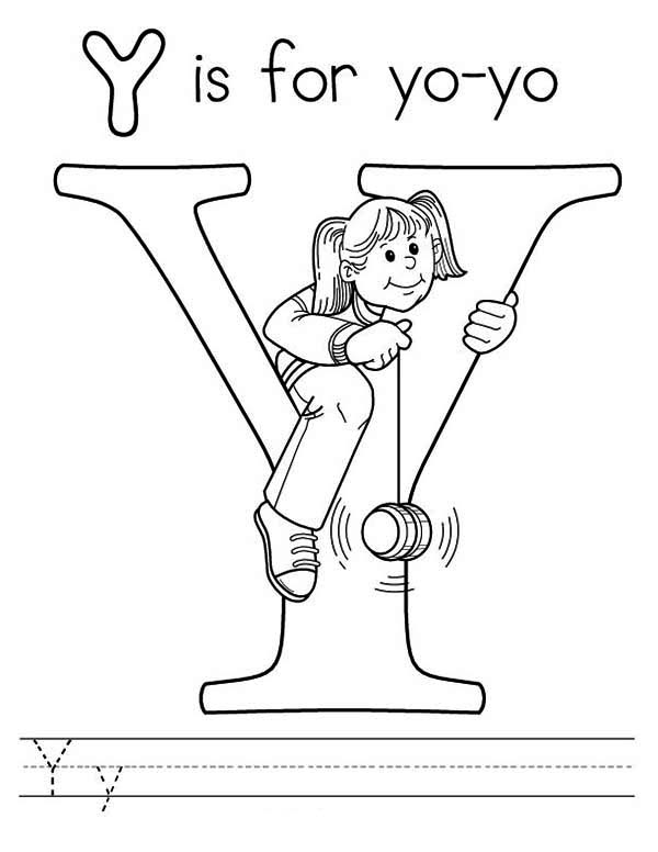 Letter Y, : Letter Y is for Yo Yo Coloring Page for Kids