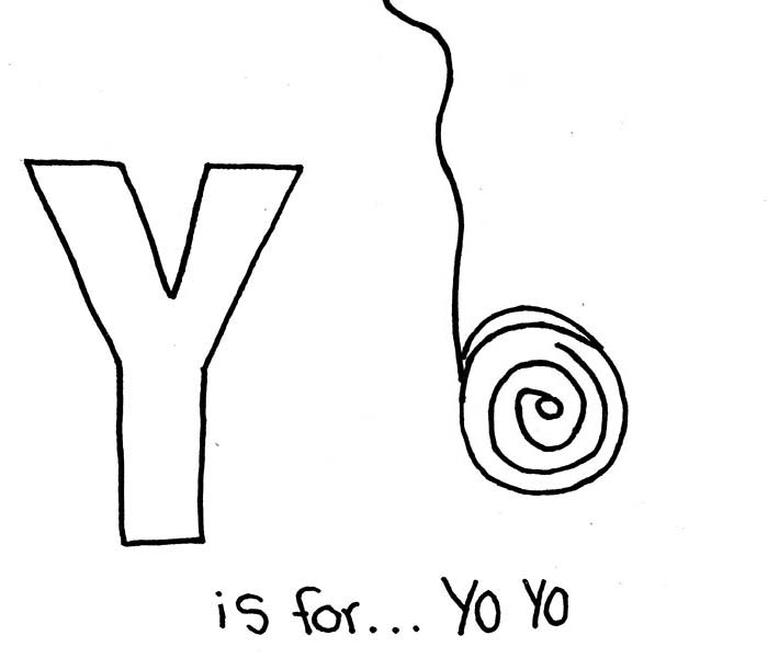 Letter Y, : Letter Y is for Yo Yo Coloring Page