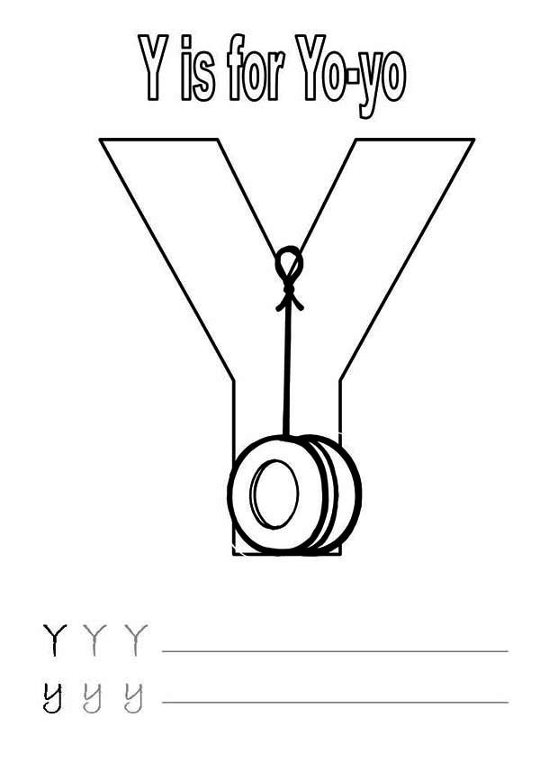 Letter Y, : Letter Y is for Yo Yo Worksheet Coloring Page