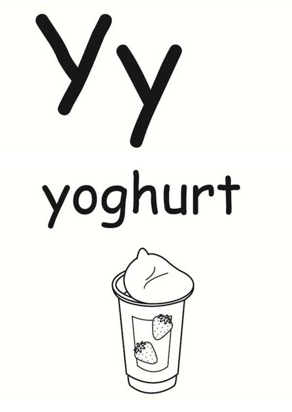 Letter Y, : Letter Y is for Yoghurt Coloring Page