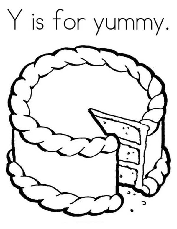 Letter Y, : Letter Y is for Yummy Coloring Page