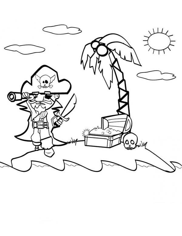 Pirates, : Looking for Pirate Treasure Coloring Pages