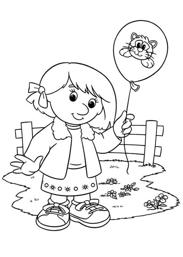 Postman Pat, : Lucy Shelby Holding a Balloon in Postman Pat Coloring Pages