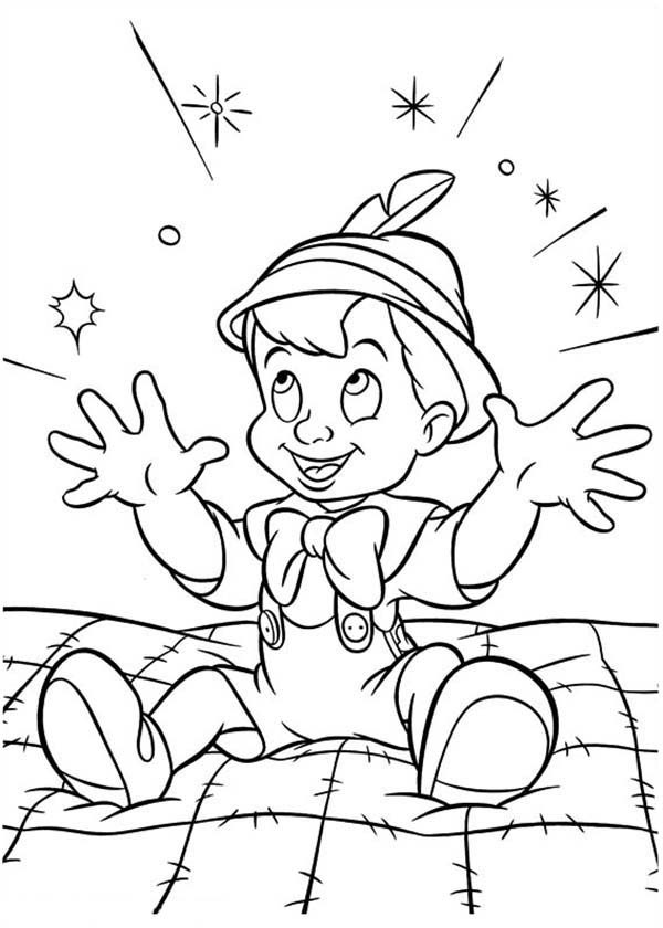 Pinocchio, : Magical Night for Pinocchio Coloring Pages